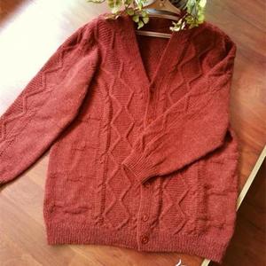 简单好织经典棒针花样男士V领羊毛开衫