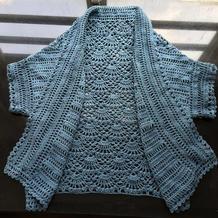 背后扇形菠萝花云朵女士钩针翻领短袖开衫