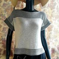 银笛280机织云素麻棉搓板针女士黑白条纹短袖