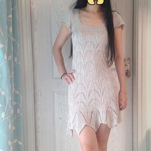 仿俄罗斯美裙 女士棒针链条亚麻短袖修身连衣裙