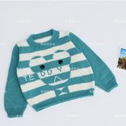 儿童棒针泰迪条纹毛衣