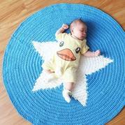 布条线编织的星星钩针垫子地毯