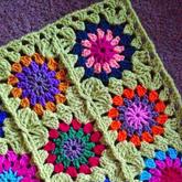编织过程走势图教你一线连多色方块拼花图案