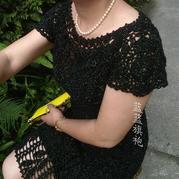 女士钩针菠萝花短袖小黑裙