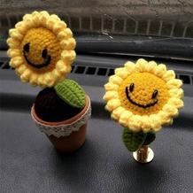手工编织创意毛线向日葵车载装饰