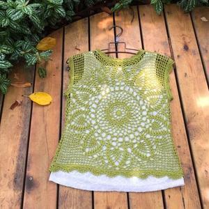 夏季女士钩针菠萝花无袖罩衫