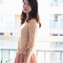 珍珠麻女士钩织结合七分袖套衫