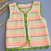 男女宝宝都适合的钩针条纹拼色马甲编织视频教程