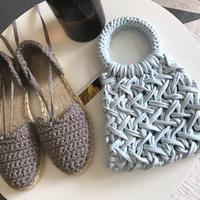 起源于法国与西班牙交界地区的草编鞋 布条线钩编女士凉鞋