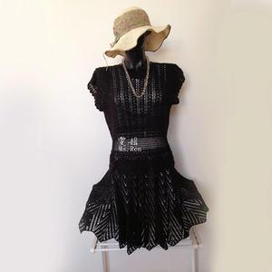 云帛II女士假两件套钩针连衣裙