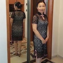 女士钩针蕾丝短袖旗袍裙