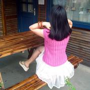 竖条纹显瘦女士横织款棒针短袖编织视频教程
