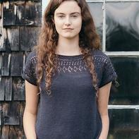 手织机织都可以的欧美女士棒针镂空花领短袖(附花卡机织图解)