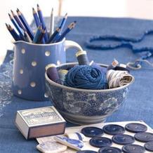 一组蓝色系毛线与织物美图让眼睛纳纳凉