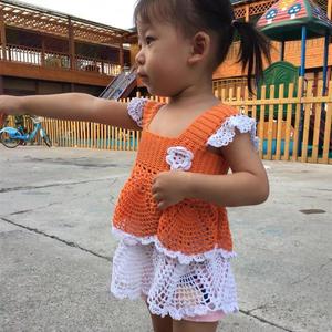 宝宝橘红色钩针背心式双层蛋糕裙