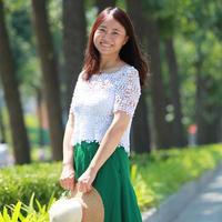 2017毛线球封面款女士钩针白色蕾丝拼花罩衫