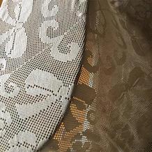 方格编钩针蝴蝶结蕾丝桌布