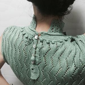 兄弟891机织女士丝麻蕾丝立领无袖套衫