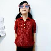 可以织亲子款的polo衫式女童棒针翻领短袖衫