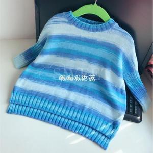 云朵地中海色儿童棒针休闲毛衣