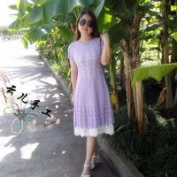仿紫陌丁香的轻舞飞扬 女士钩针短袖连衣裙