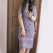 婉约优雅晚礼裙 女士半袖V领修身款棒针连衣裙