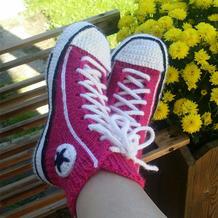 男人也会爱上的毛线鞋 芬兰编织达人钩织结合织出匡威鞋