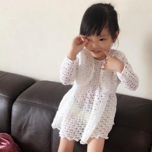 小淑女洋装 儿童钩针蕾丝套裙(背心裙及短款小开衫)