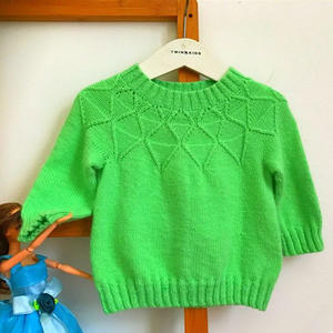 棱动 简洁大方从上往下织儿童棒针圆领长袖毛衣