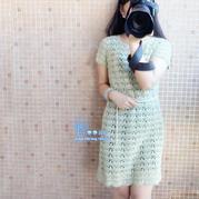 夏季美裙 女士钩针扇形花短袖连衣裙