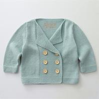 英伦风萌芽棒针宝宝双排扣开衫外套毛衣编织视频