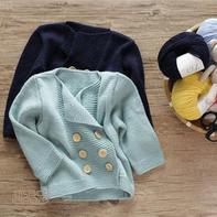 萌芽英伦风双排扣儿童棒针外套开衫