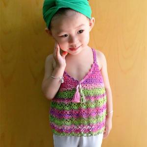 防掉肩钩针女童夏日段染清凉小吊带
