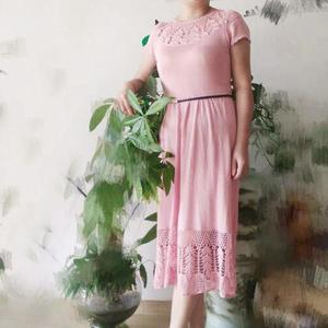 舒适凉爽女士钩织结合真丝连衣裙