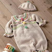 全棉婴儿钩针连体衣套装(钩针宝宝爬服与宝宝帽)