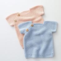 从上往下织0-3岁宝宝棒针短袖毛衣编织视频教程