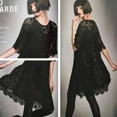 蕾丝小黑裙 女士钩针拼花短袖连衣裙编织图解