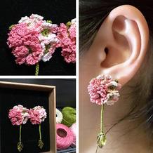 蕾丝编织花团锦簇钩针耳钉