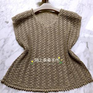 女士蕾丝编织钩针夏款无袖套衫