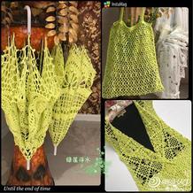 亮丽荧光绿蕾丝钩针套装(钩针蕾丝伞+单肩手提包+披肩式开衫)