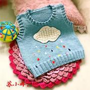 白云下的彩虹雨 新手也能很快织出来的宝宝棒针背心