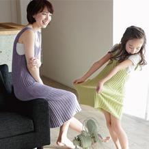 简洁时尚棒针亲子背心裙编织图解 家有小棉袄的来一套吧