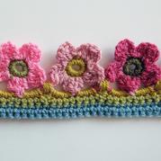 编织过程图详解漂亮五瓣花钩针花边的制作方法