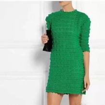 春意盎然 仿T台大牌绿色女士钩针直身裙