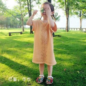 黄玫瑰 云素麻棉棒针女童休闲直筒裙