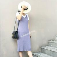 简约时尚修身女士棒针过膝吊带裙