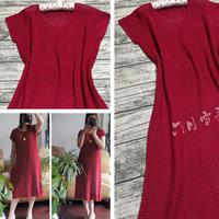 细针细线女士方格钩针长裙
