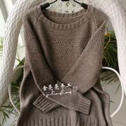 仿欧美编织款男士牦牛绒棒针套头毛衣