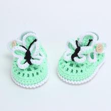 夏款钩针蝴蝶宝宝鞋编织视频教程(3-2)渔网鞋面的编织