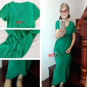 萃荷女士V领短袖棒针长裙